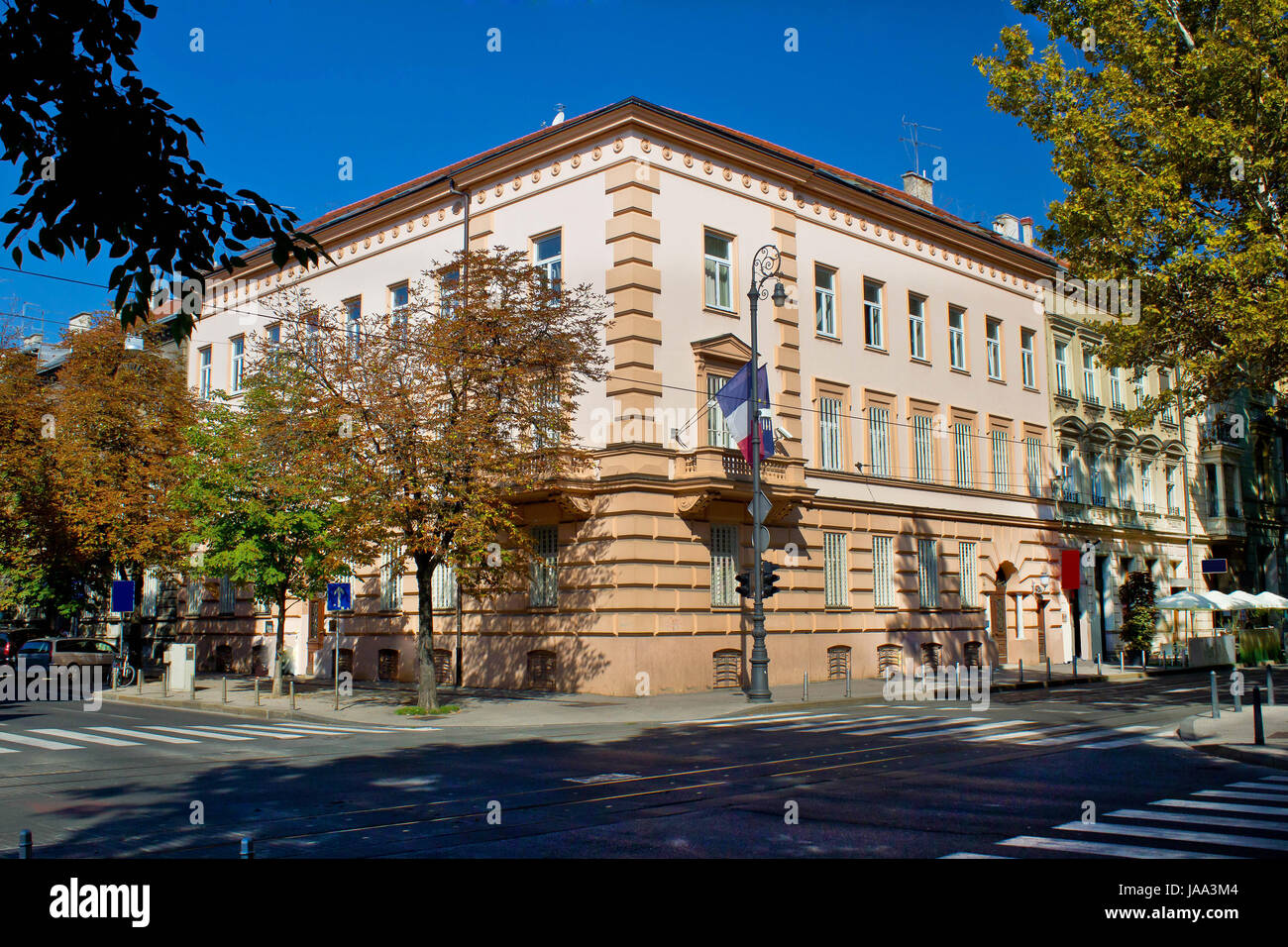 france, croatia, embassy, diplomacy, building, protected, sheltered, city, - Stock Image