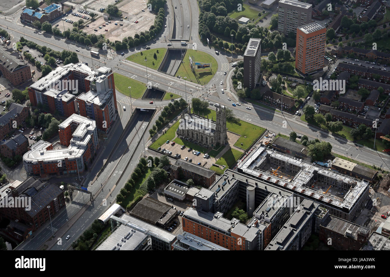 aerial view of the former St George Church, Arundel Street, Manchester, UK Stock Photo