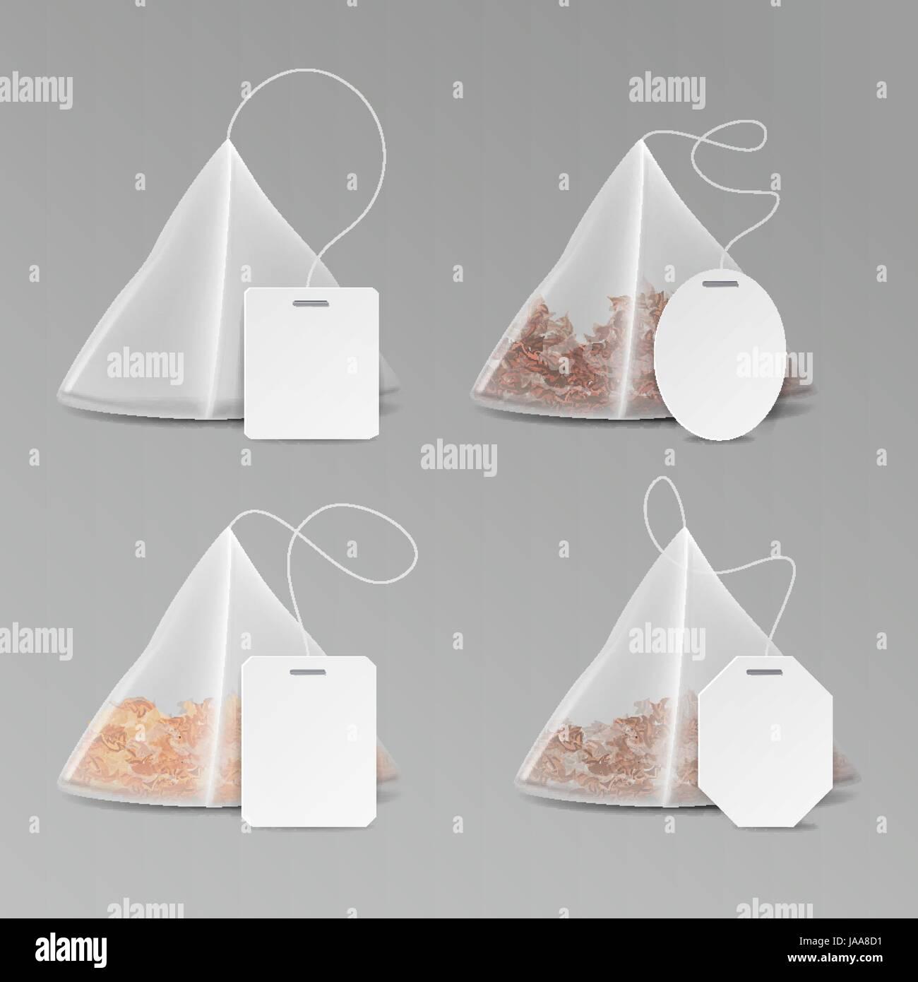 Pyramid Shape Tea Bag Set. Mock Up With Empty Square, Rectangle ...