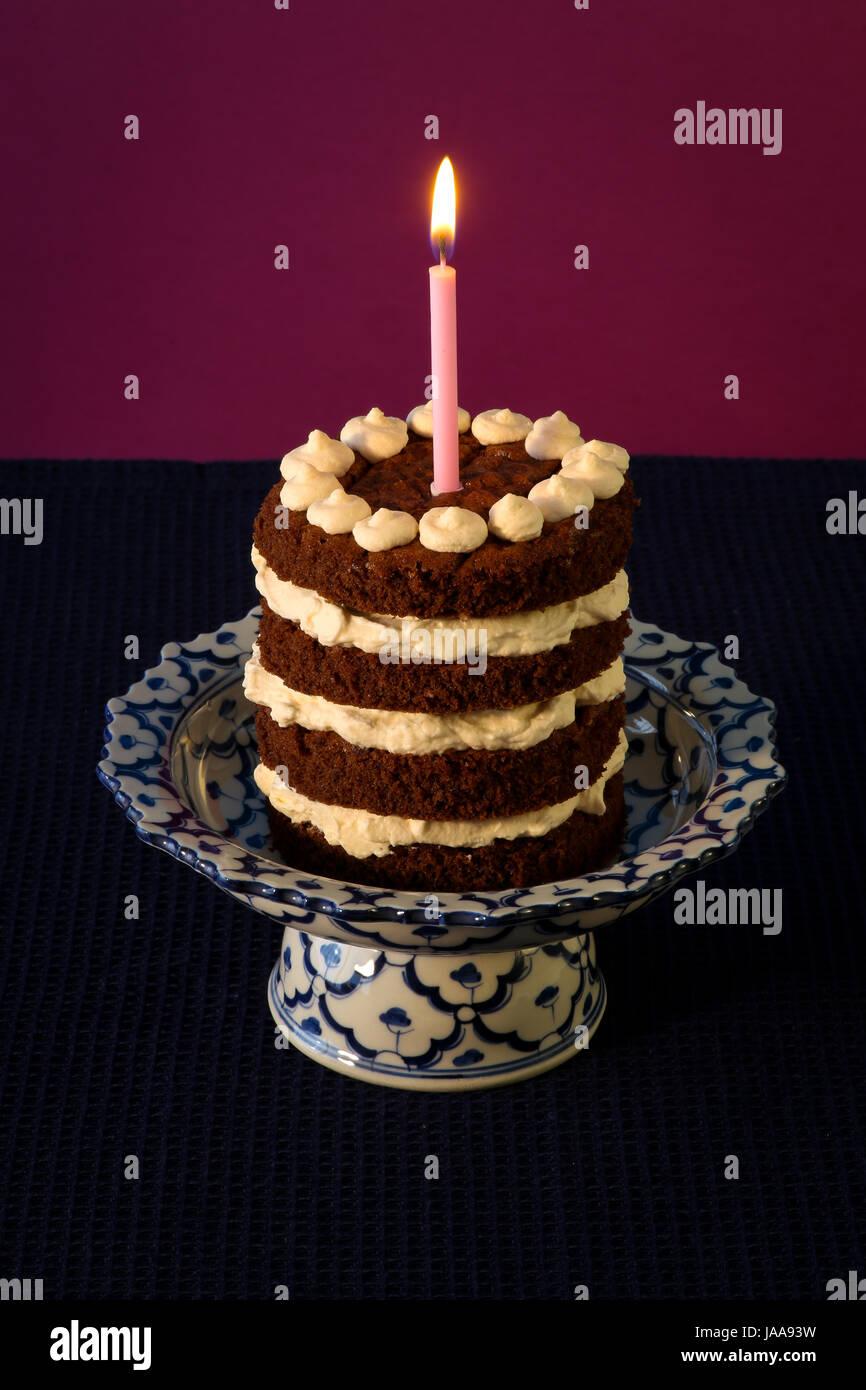 Candle Party Celebration Cake Pie Cakes Almond Birthday Stock