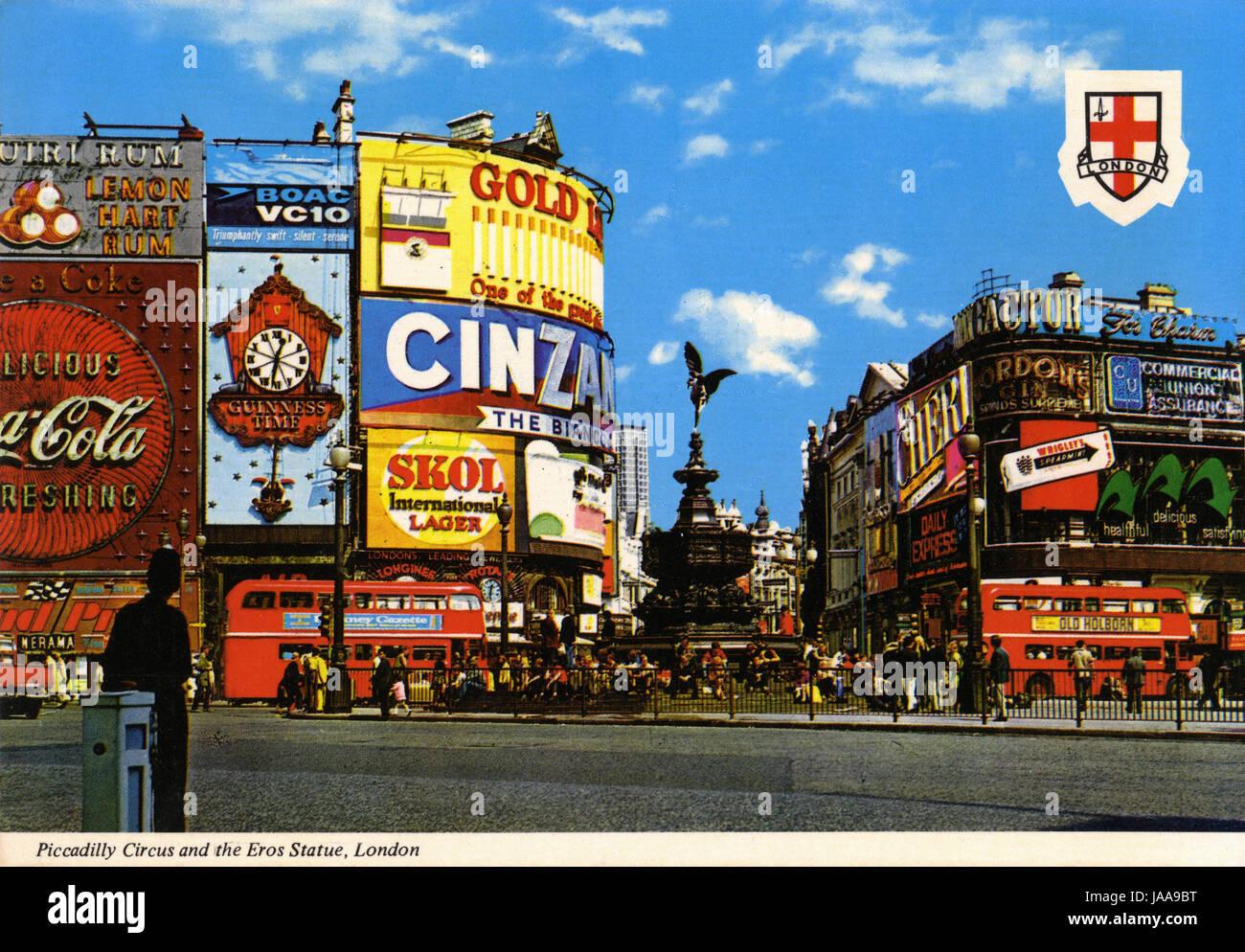 Postcard of Picaddilly Circus, London - Stock Image