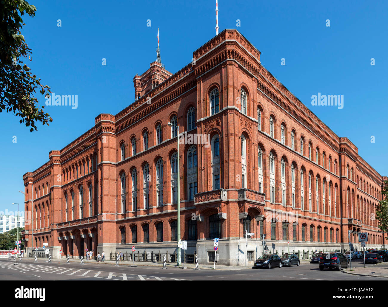 The Rotes Rathaus (Red City Hall), the seat of  the mayor and city government, Rathausstrasse, Berlin, Germany - Stock Image