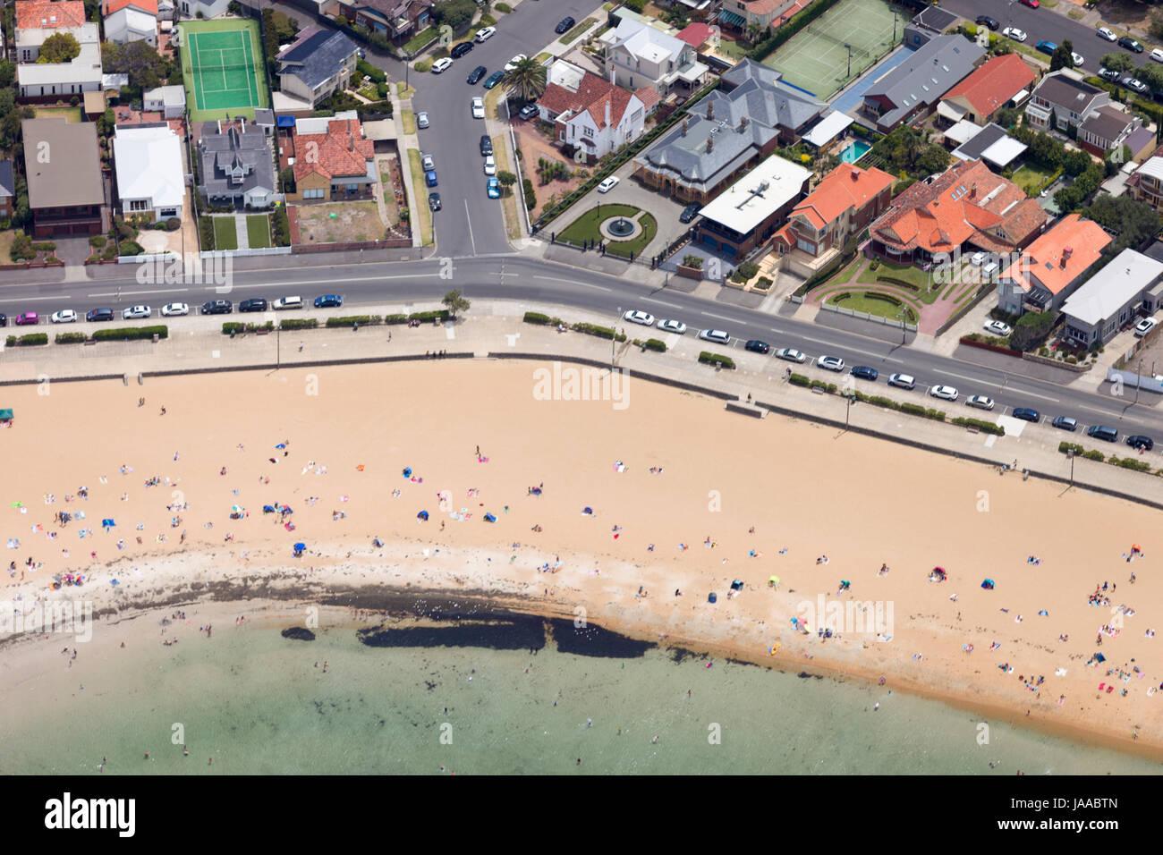 Aerial view of Brighton beach. - Stock Image