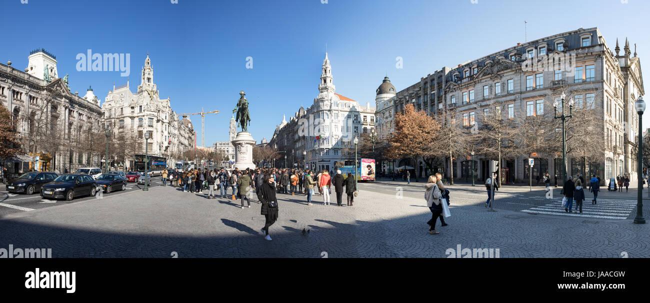 Liberdade Square, Praca da Liberdade, the monument to King Peter IV (Pedro IV), Santo Ildefonso parish, lower town - Stock Image