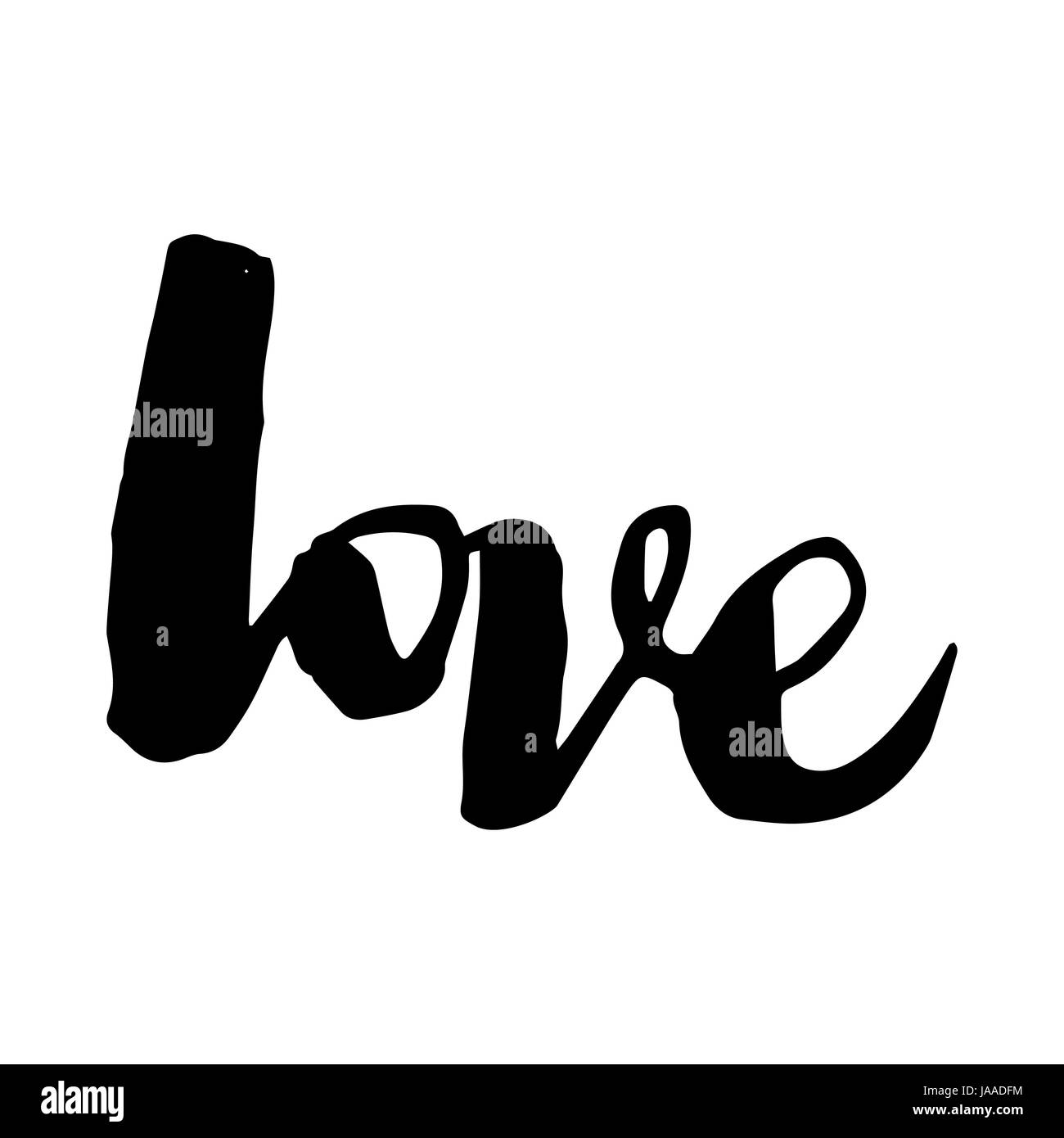 Hand Drawn Love Word Isolated On White Background Romantic Card On Valentines Day Handwritten Modernigraphy Poster