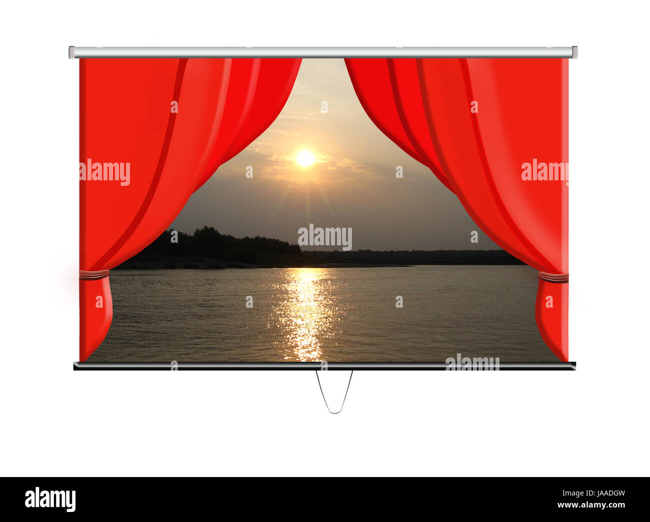 beautiful white screen with red curtains and evening landscape Stock Photo