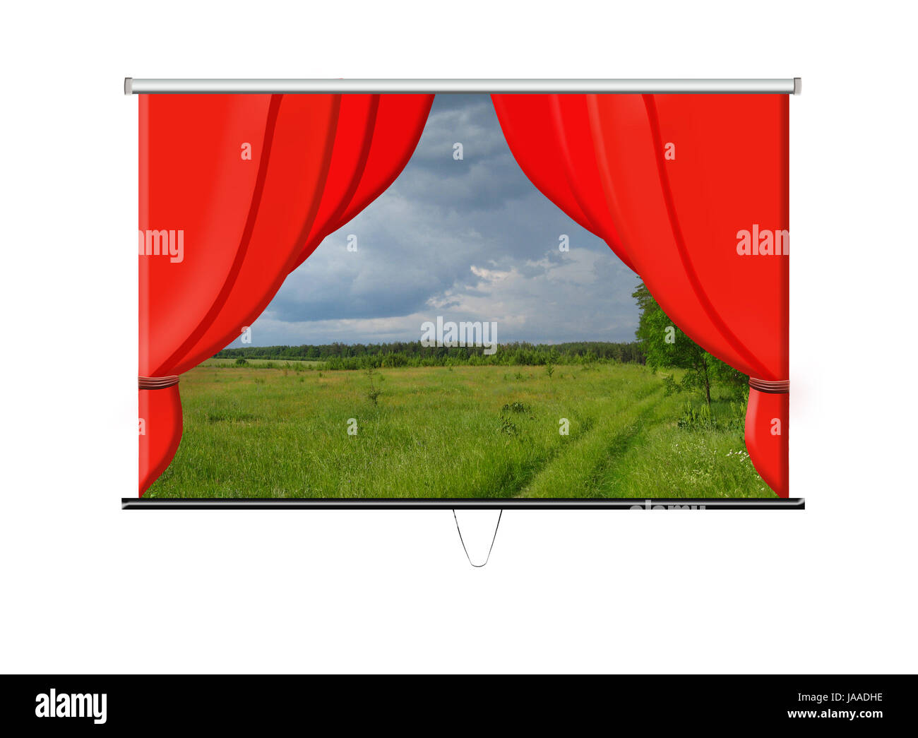 beautiful white screen with red curtains and evening landscape - Stock Image