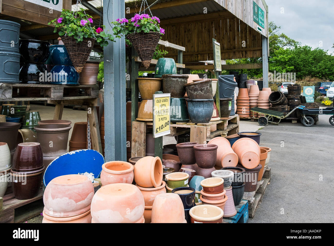 A variety of ceramic pots for sale in a Garden Centre. - Stock Image