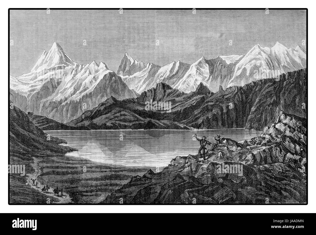 Bernese oberland,Swiss alpine panorama, XIX century - Stock Image