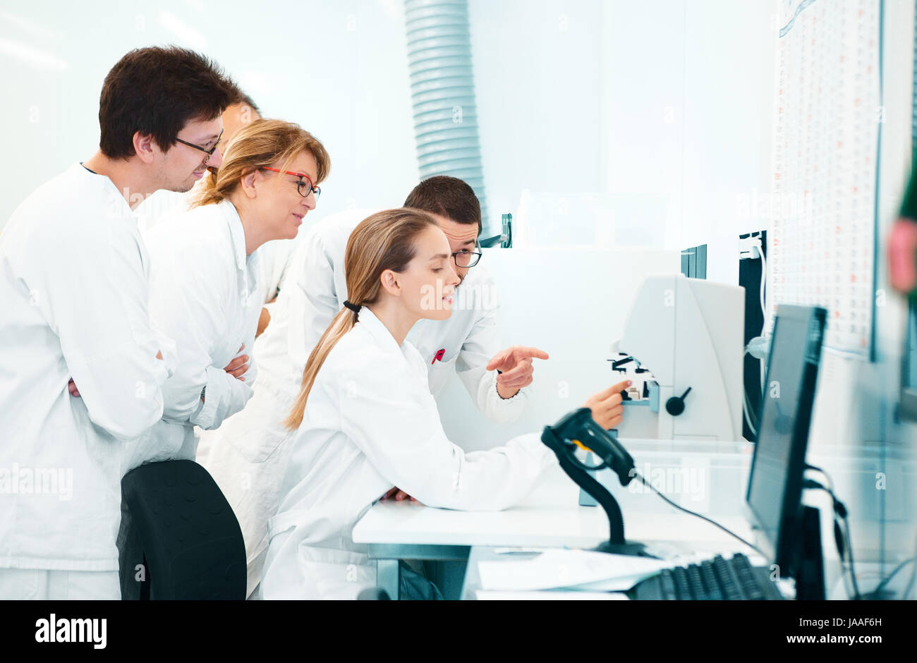 Researchers in lab, doctors, scientists - Stock Image