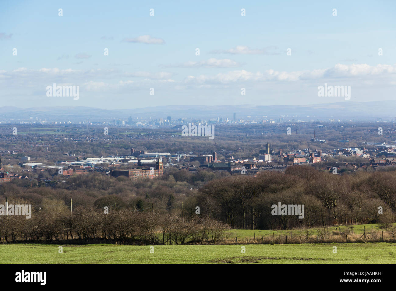Landscape of Bolton taken from Scout Road, overlooking the area of Halliwell and north of the town centre. Beyond - Stock Image