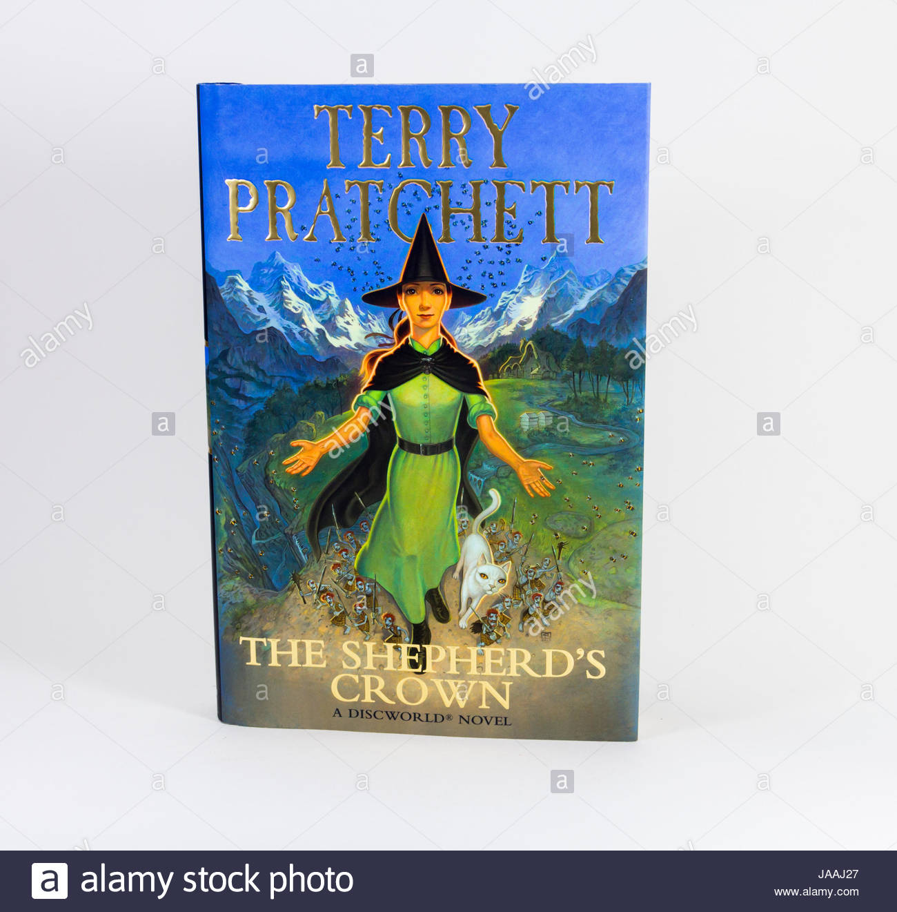 Hardback book with dustjacket of 'The Shepherd's Crown', the fantasy genre  book by Terry Pratchett - Stock Image