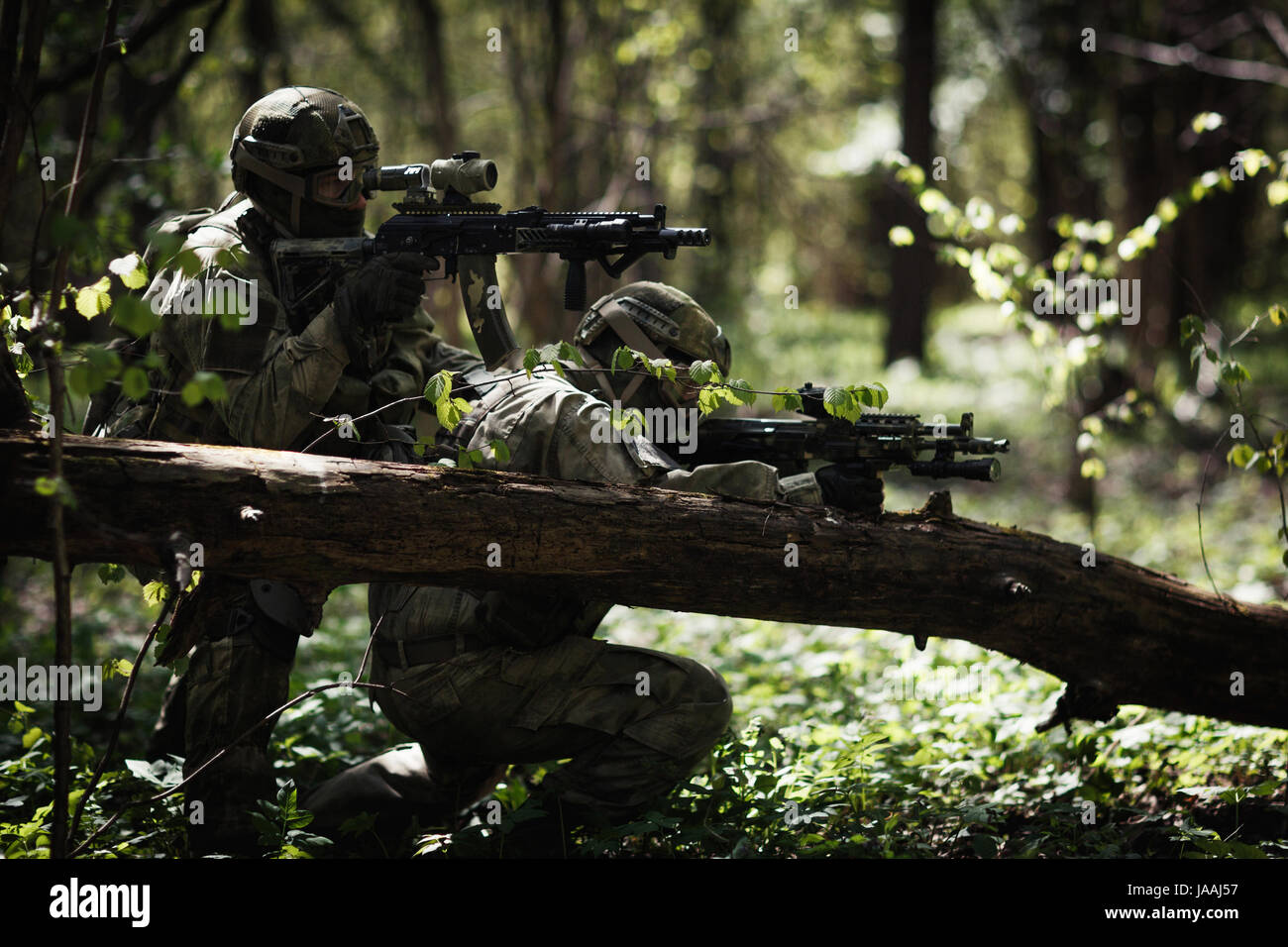 Soldiers in camouflage among trees - Stock Image