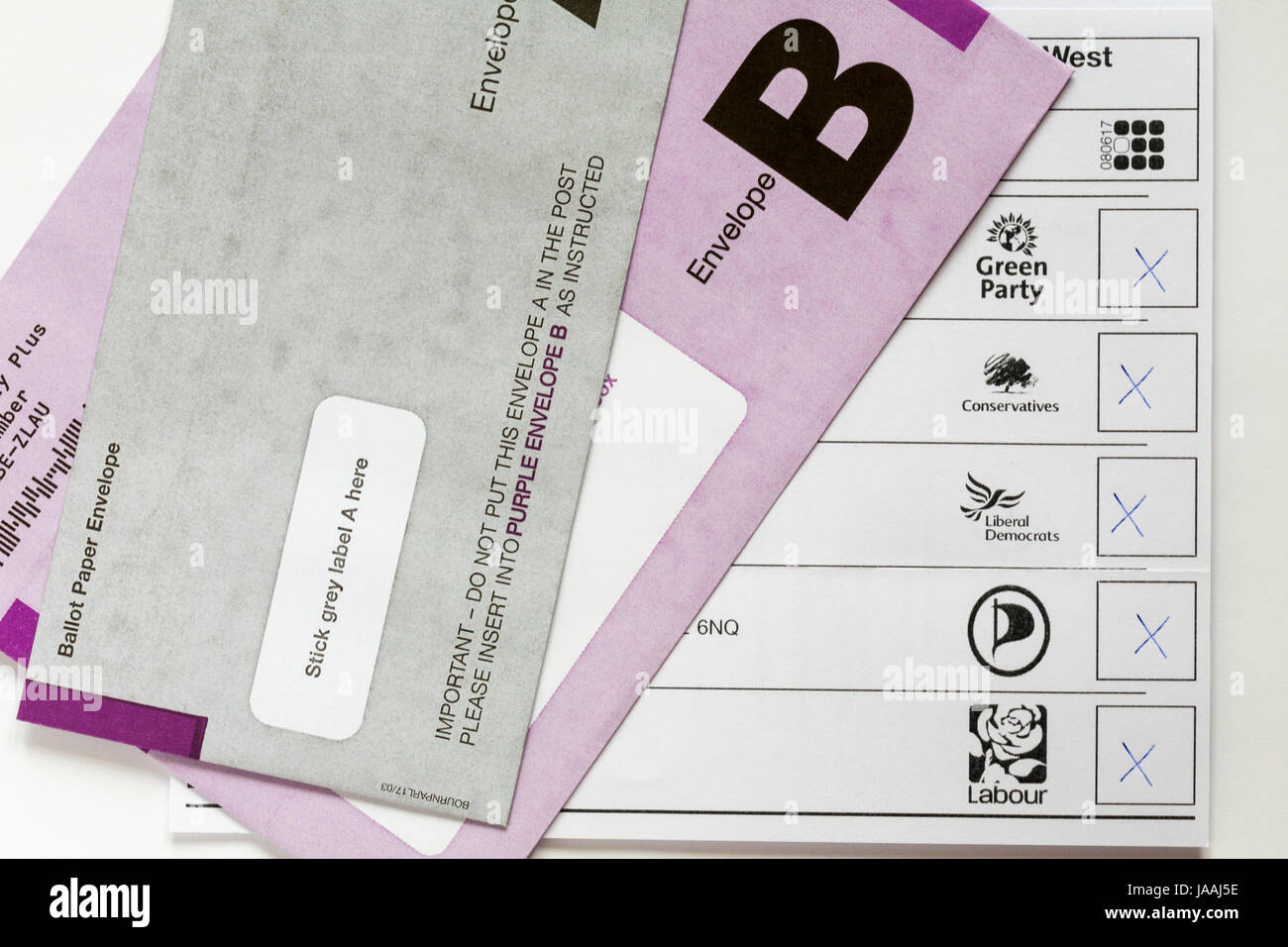 Spoilt Ballot Paper for Postal Ballot Paper for General Election in the UK on Thursday 8th June 2017 - with X put - Stock Image
