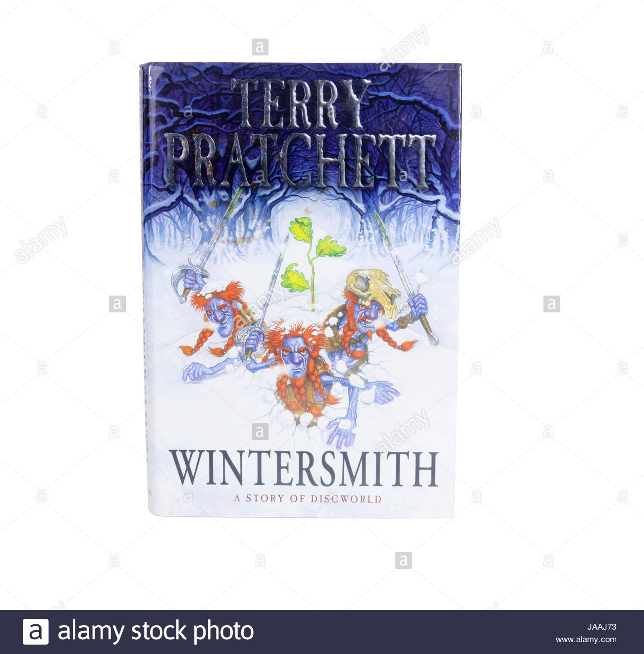 Hardback book with dustjacket of 'Wintersmith', the fantasy genre  book by Terry Pratchett in his Discworld - Stock Image
