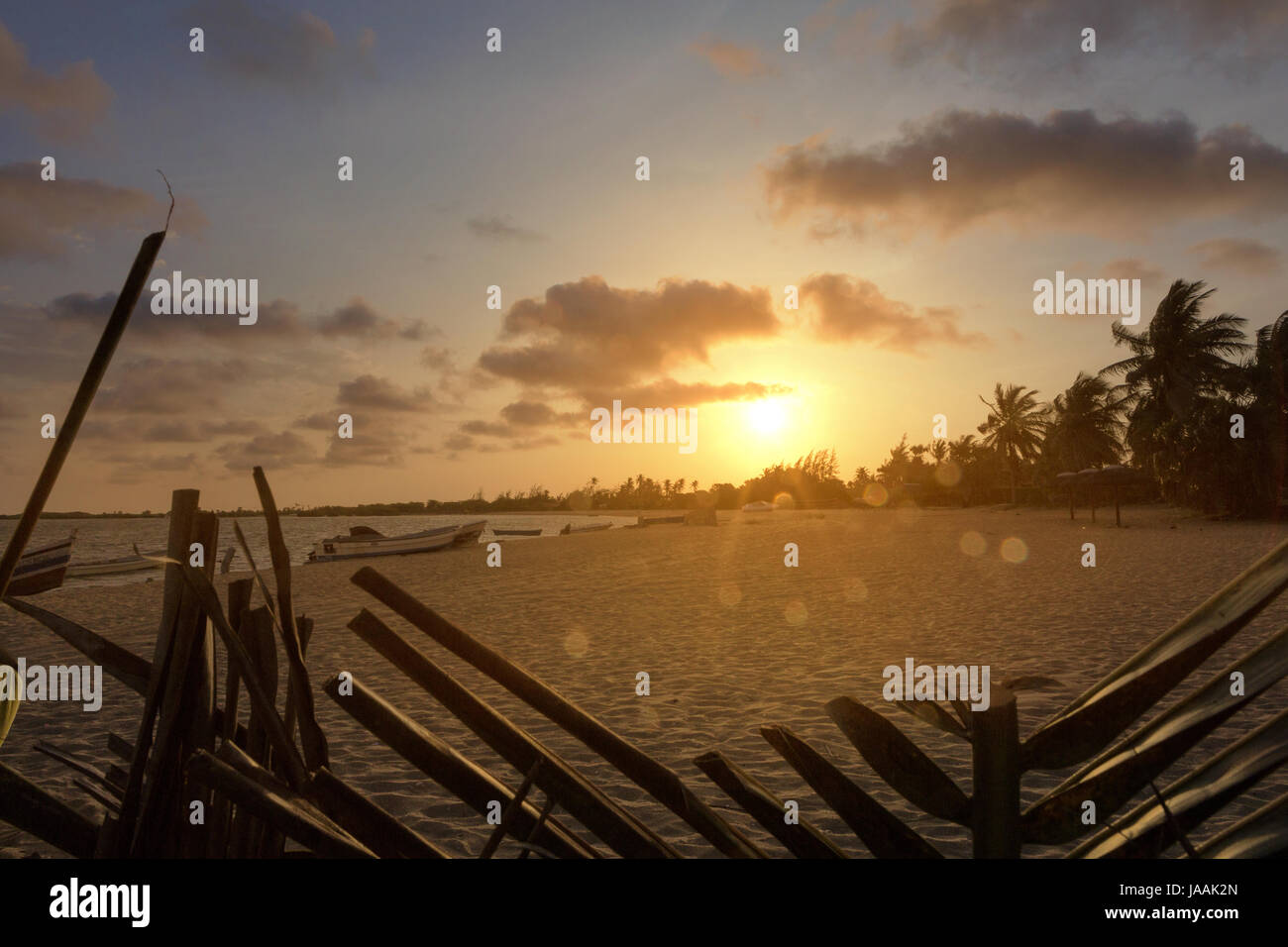 Sunset on the tropical island of mussulo angola - Stock Image