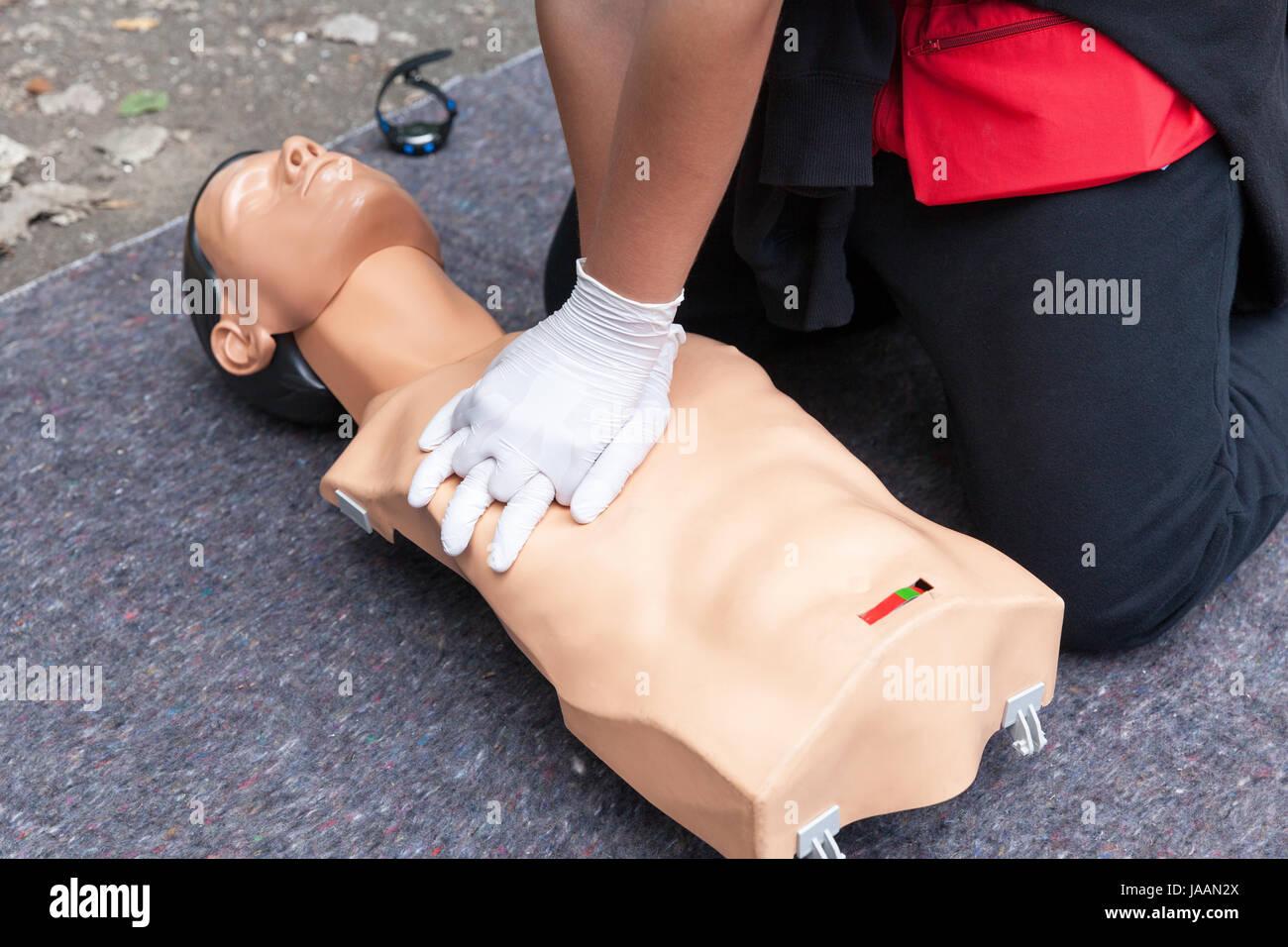 b6c3eaf081 Cardiopulmonary resuscitation - CPR. First aid training detail. Heart  massage.