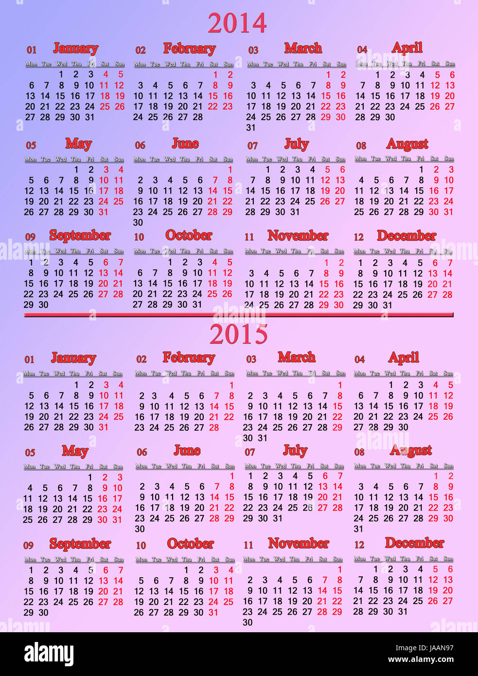 usual office pale rose calendar for 2014 - 2015 years - Stock Image