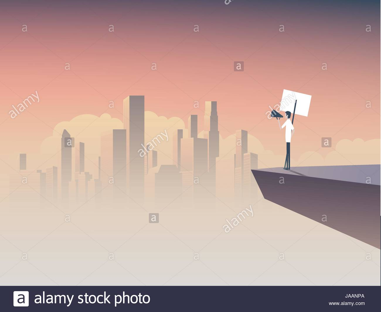 Protester speaking through megaphone or bullhorn and holding a placard, banner vector icon. Corporate background. - Stock Vector
