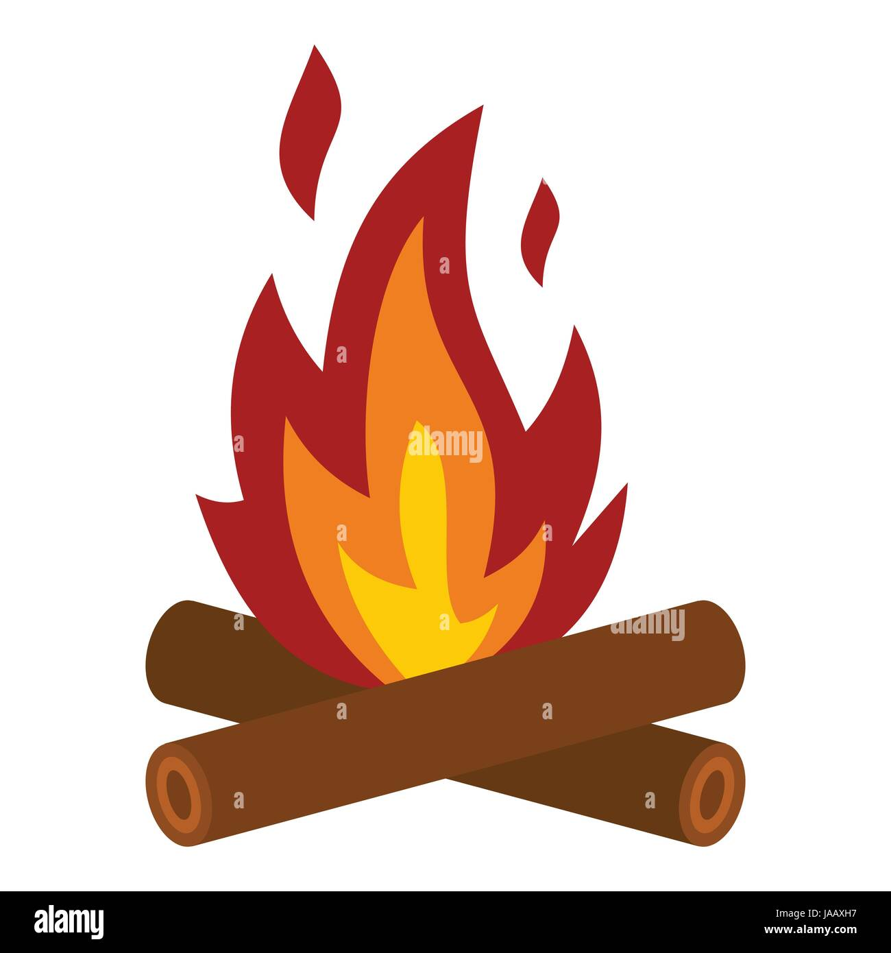 Camp fire icon, flat style - Stock Image