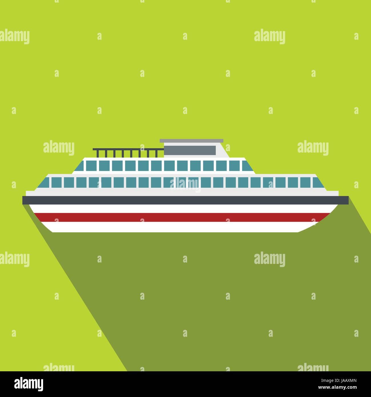 Cruise ship icon, flat style - Stock Vector