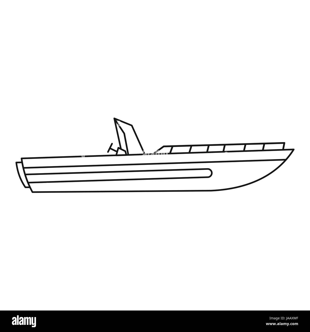 Motor speed boat icon, outline style Stock Vector