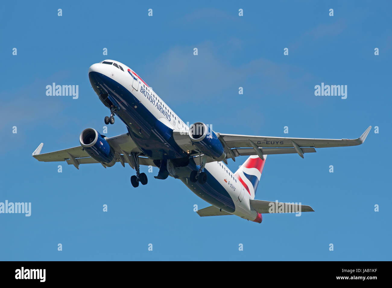 The British Airways Airbus A 320-232 Inverness flight departing Dalcross airport for London Heathrow Stock Photo