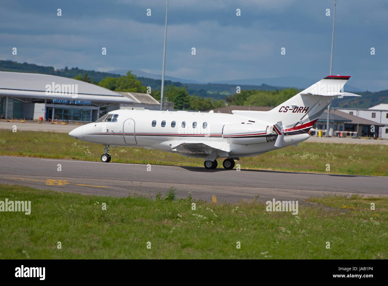 Portuguese registered  twin engined business jet arriving at Inverness airport i the Scottish Highlands. UK. - Stock Image