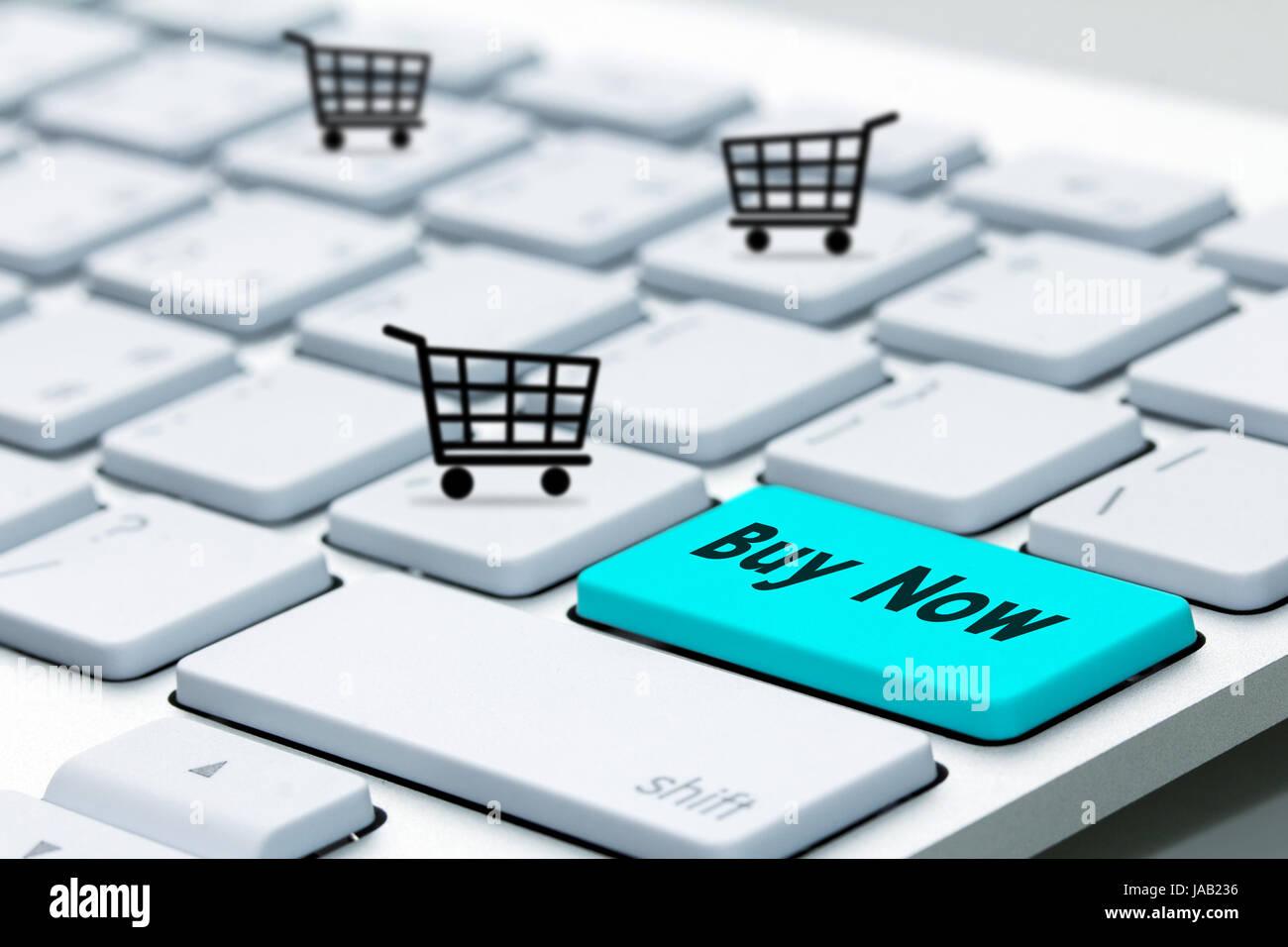 keyboard buy now icon - Stock Image