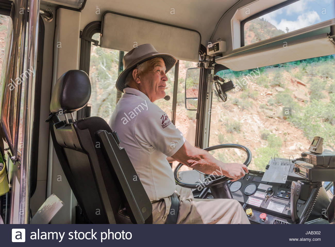 Shuttle bus driver, Zion National Park, Southern Utah, USA - Stock Image