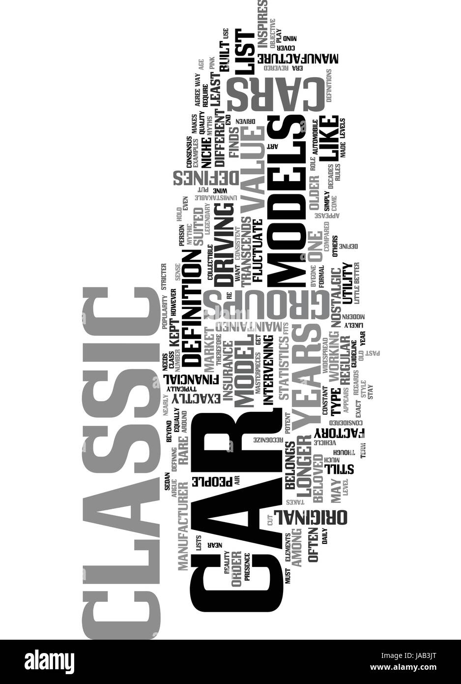 WHAT DEFINES A CLASSIC CAR TEXT WORD CLOUD CONCEPT - Stock Image
