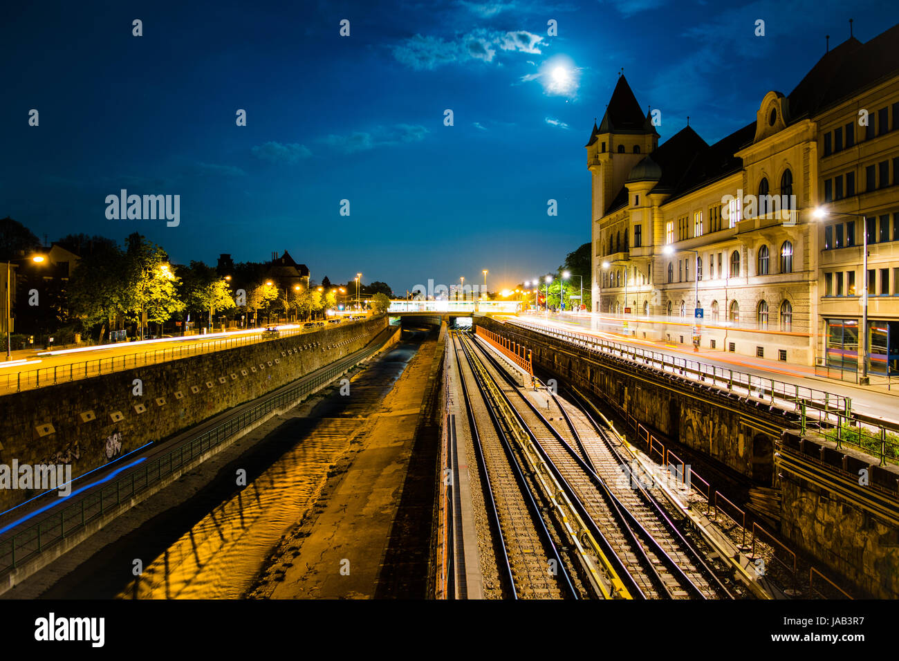 Hietzing metro station on a full moon - Stock Image
