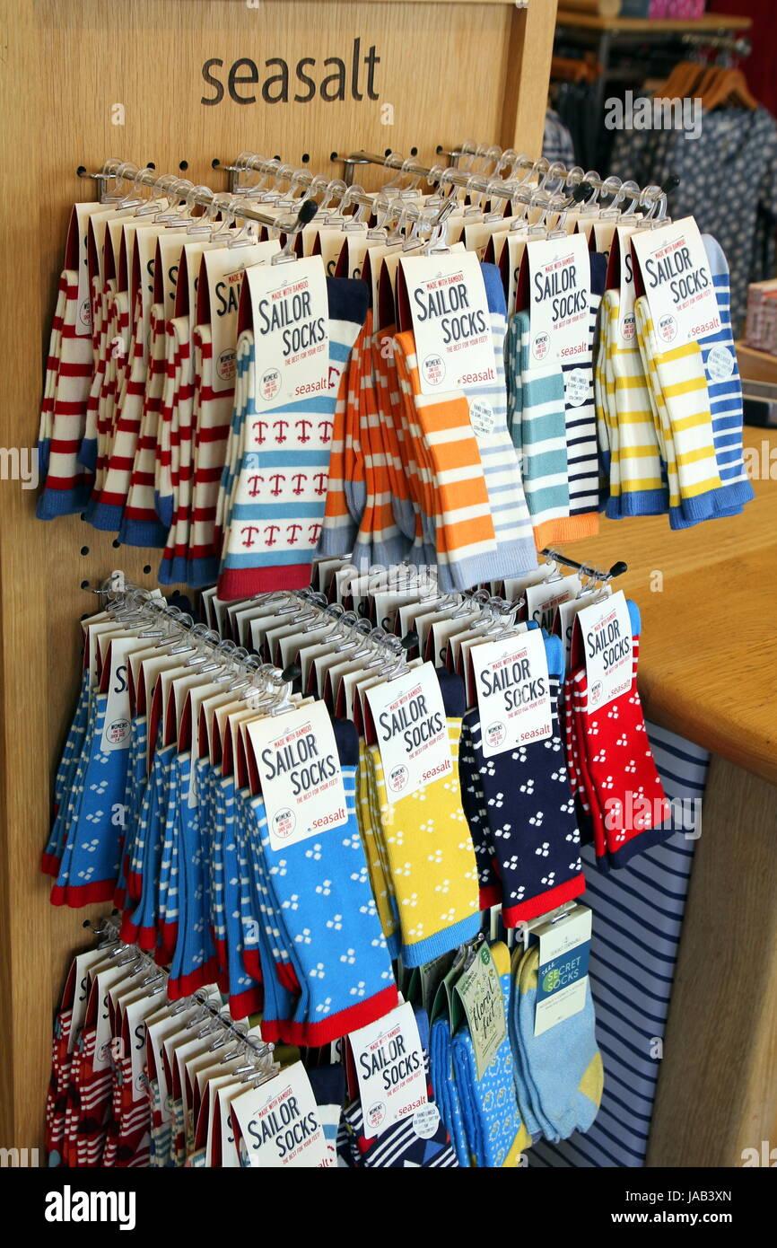 Padstow, Cornwall, UK - April 6th 2017: Store display of women's Seasalt Sailor Socks - Stock Image