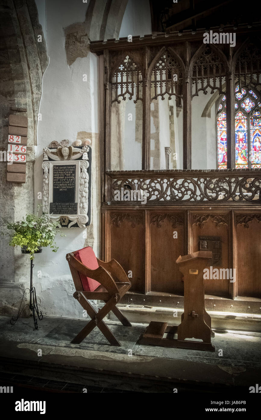 Preachers seat and reading lectern at St James Church, Somerton.  May 2017 - Stock Image