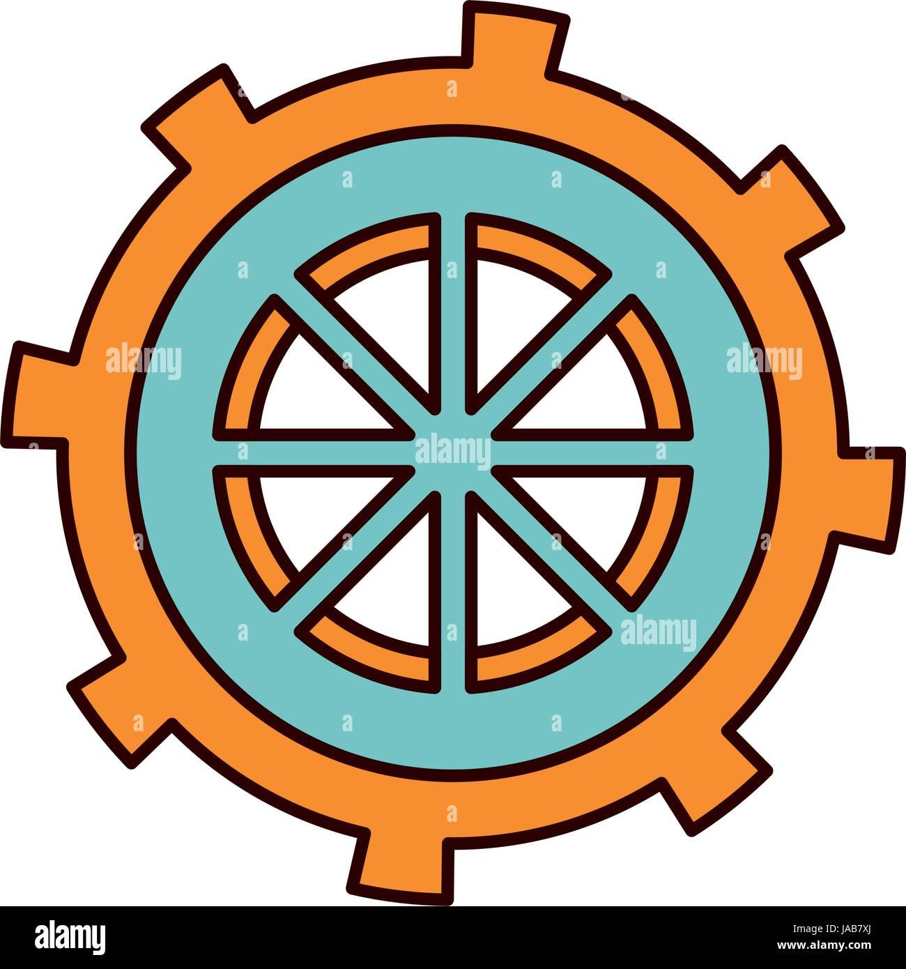 Color Sketch Silhouette Gear Wheel In Shape Boat Helm Stock Vector