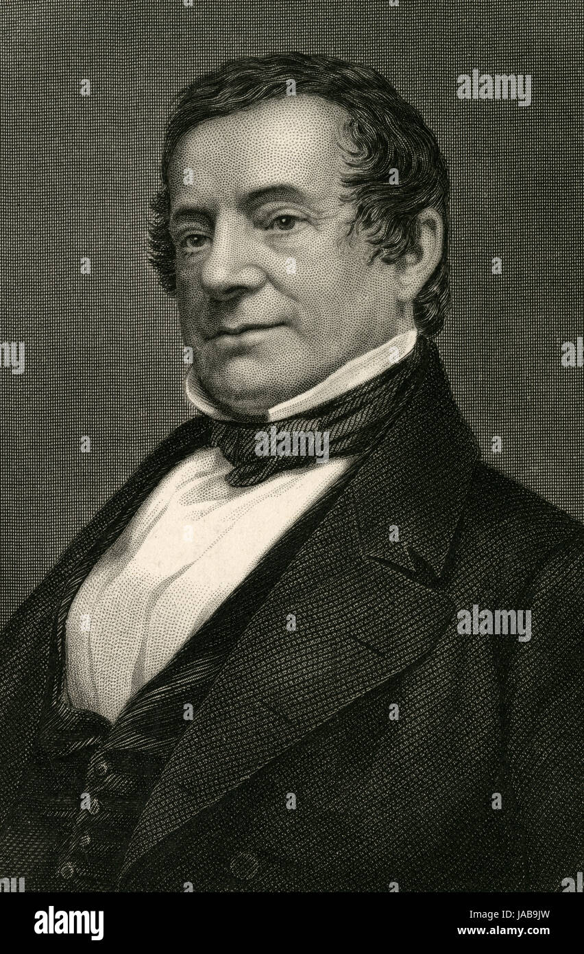 """Antique 1837 engraving, Washington Irving. Washington Irving (1783-1859) was an American short story writer, essayist, biographer, historian, and diplomat of the early 19th century. He is best known for his short stories """"Rip Van Winkle"""" (1819) and """"The Legend of Sleepy Hollow"""" (1820). SOURCE: ORIGINAL ENGRAVING."""