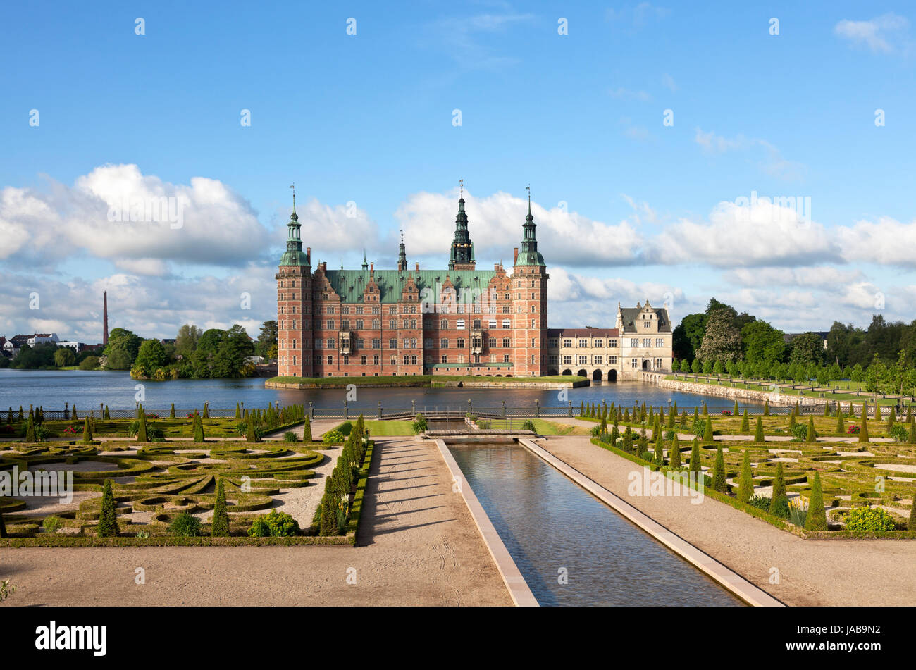 The Frederiksborg Castle in Dutch Renaissance style and the baroque garden in Hillerød near Copenhagen, Denmark, - Stock Image