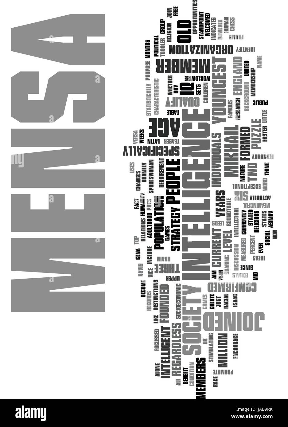 WHAT IS MENSA TEXT WORD CLOUD CONCEPT - Stock Vector