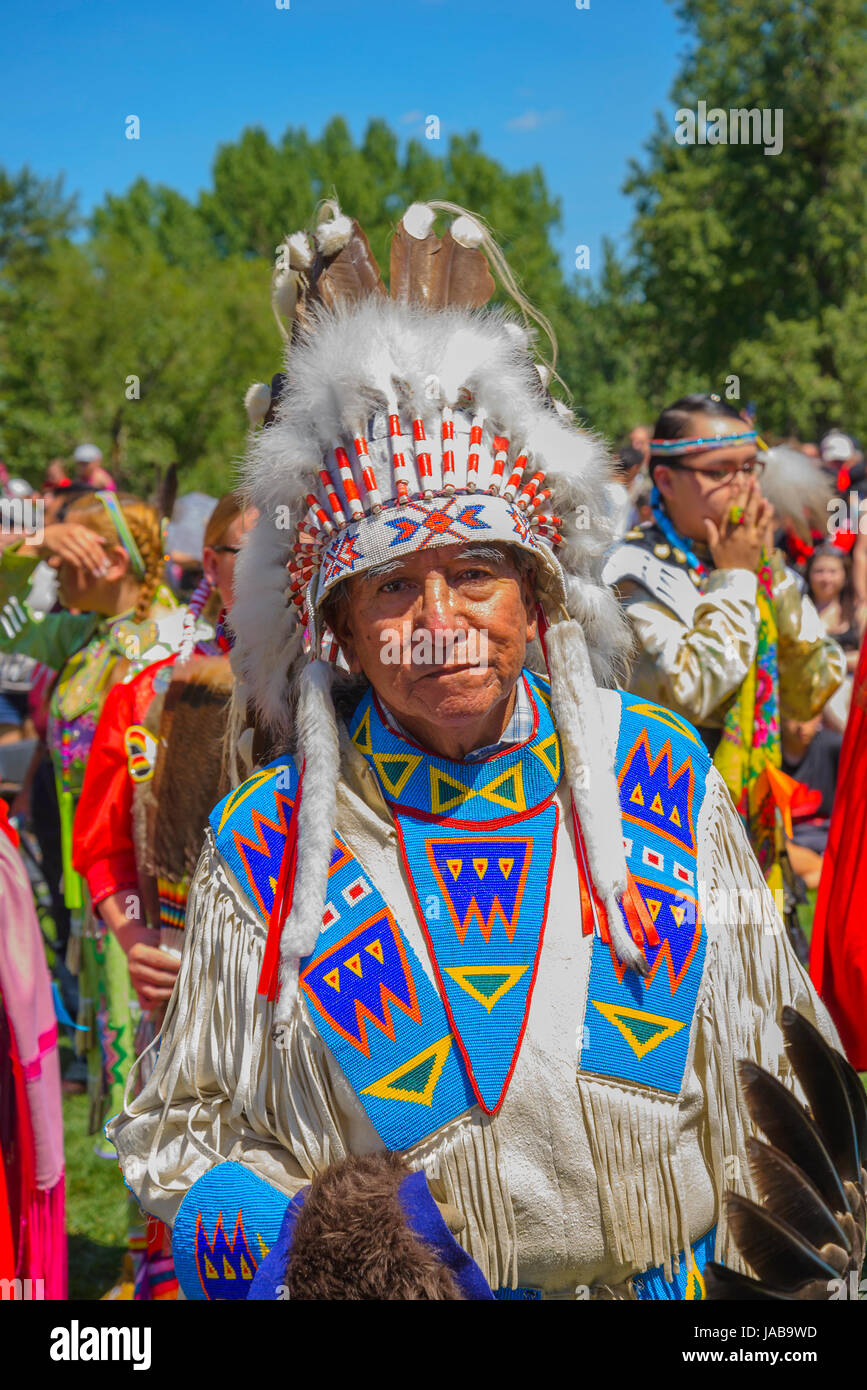 Plains Indian elder with headdress at Canada day Pow Wow, Princes Island, Calagary, Alberta, Canada - Stock Image