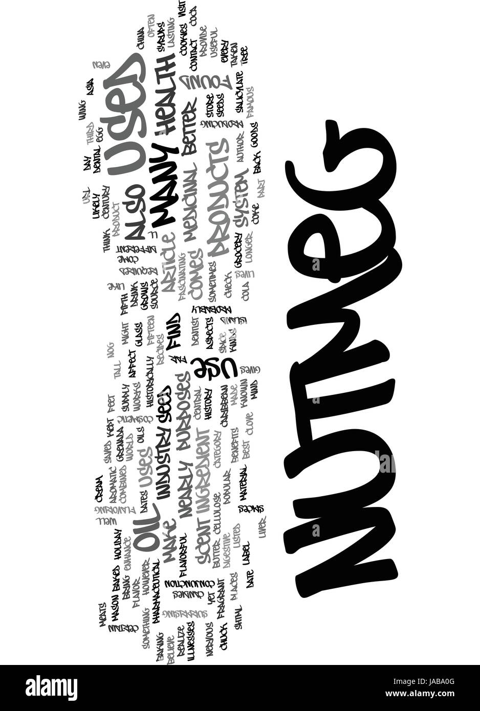 WHAT IS NUTMEG AND WHAT CAN IT DO FOR ME TEXT WORD CLOUD CONCEPT - Stock Vector