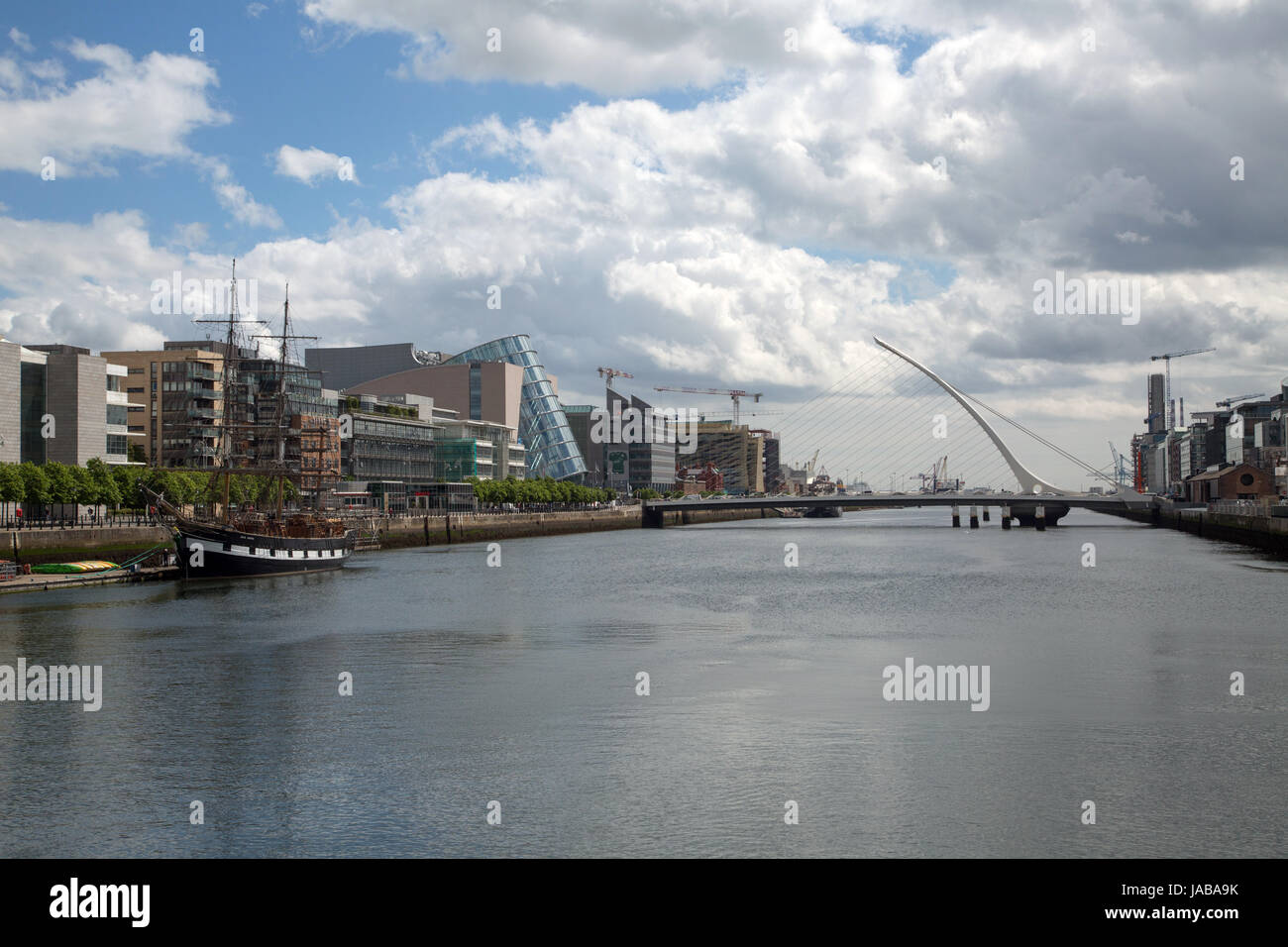 A view of the River Liffey and Dublin docklands area in Dublin city, Ireland - Stock Image