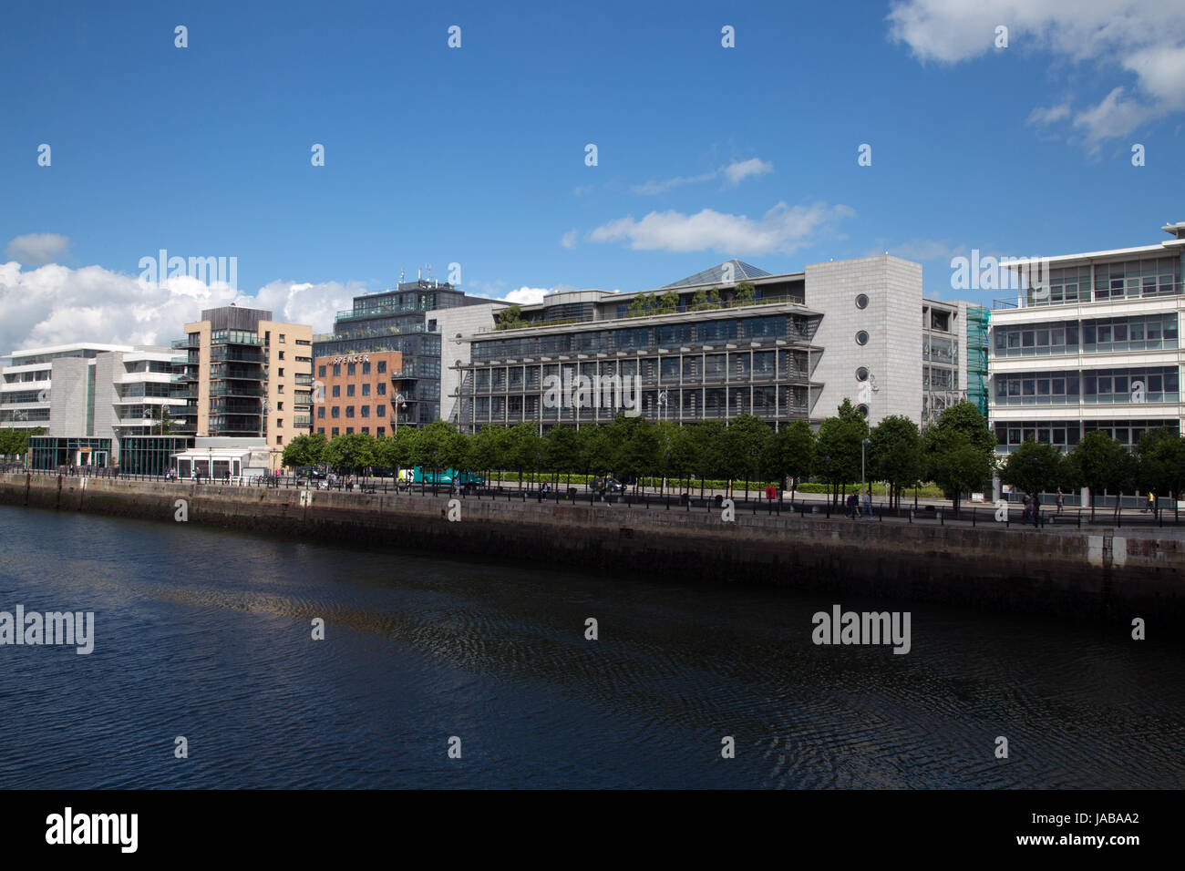 Buildings on the waterfront at Dublin docklands area, Ireland. - Stock Image