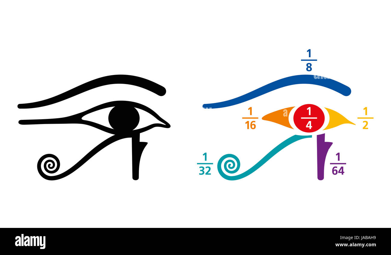 Eye of Horus fractions arithmetic values. In Ancient Egyptian, fractions were written as sum of unit fractions. - Stock Image