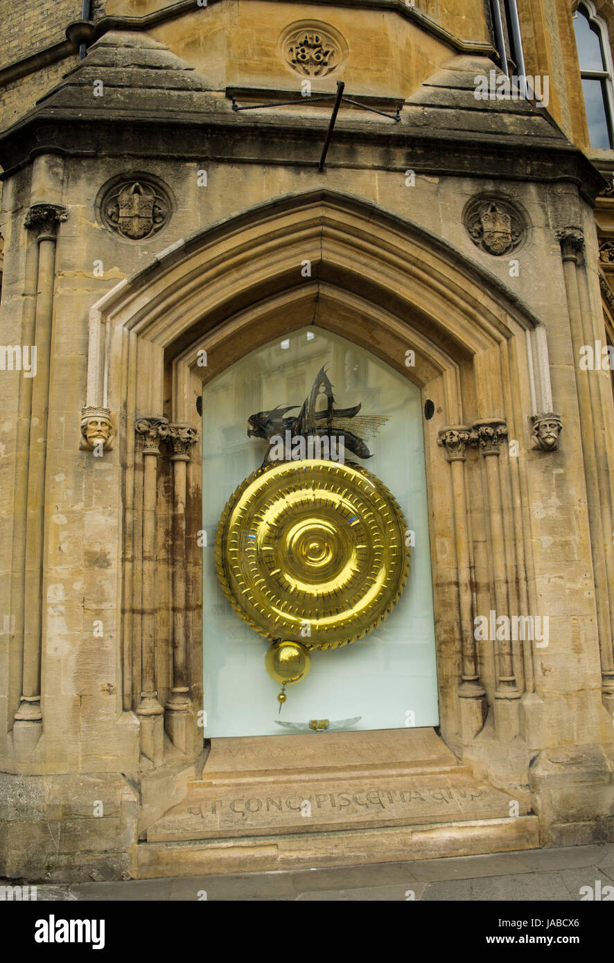 The Corpus Clock. A large sculptural clock at street level on the outside of the Taylor Library at Corpus Christi Stock Photo
