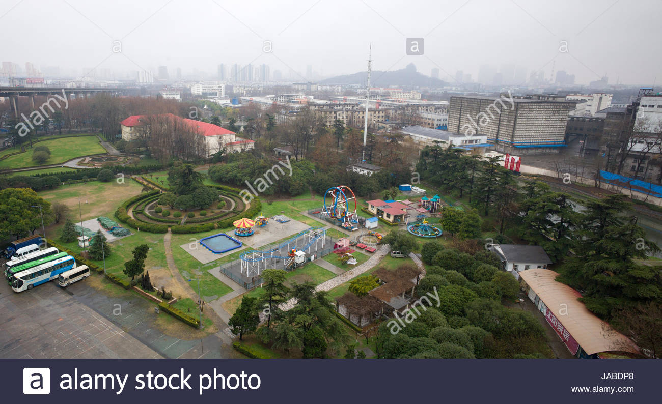 View from observation tower over children's playground and Nanjing city, China - Stock Image