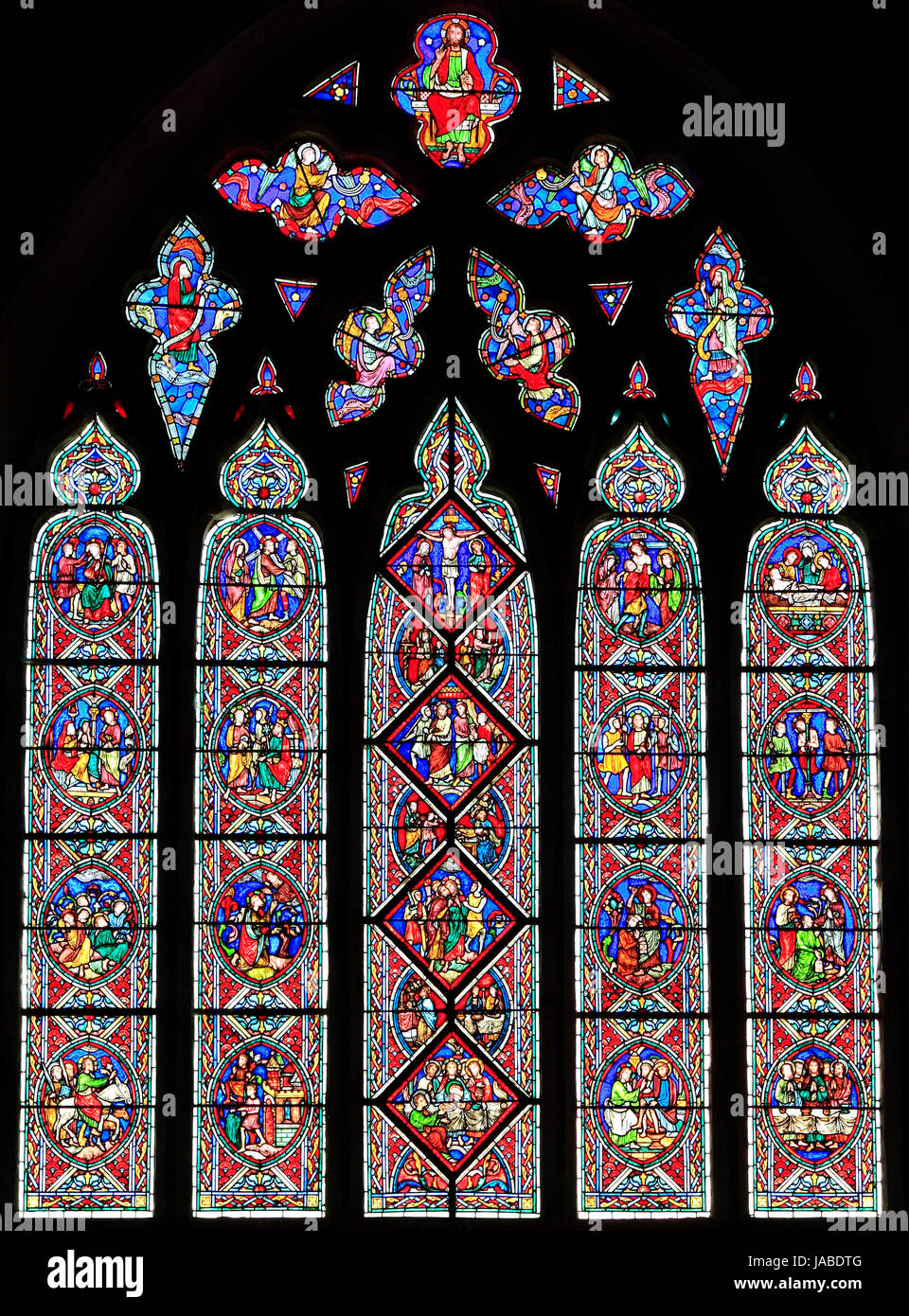 The Passion Window, passion scenes, stained glass window, by Adolph Didron of Paris, 1860, Feltwell Church, Norfolk, - Stock Image