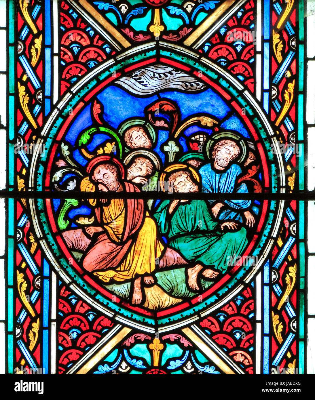 The Passion Window, Garden of Gethsemane, Jesus' Disciples sleeping, stained glass by Didron of Paris, 1860, - Stock Image