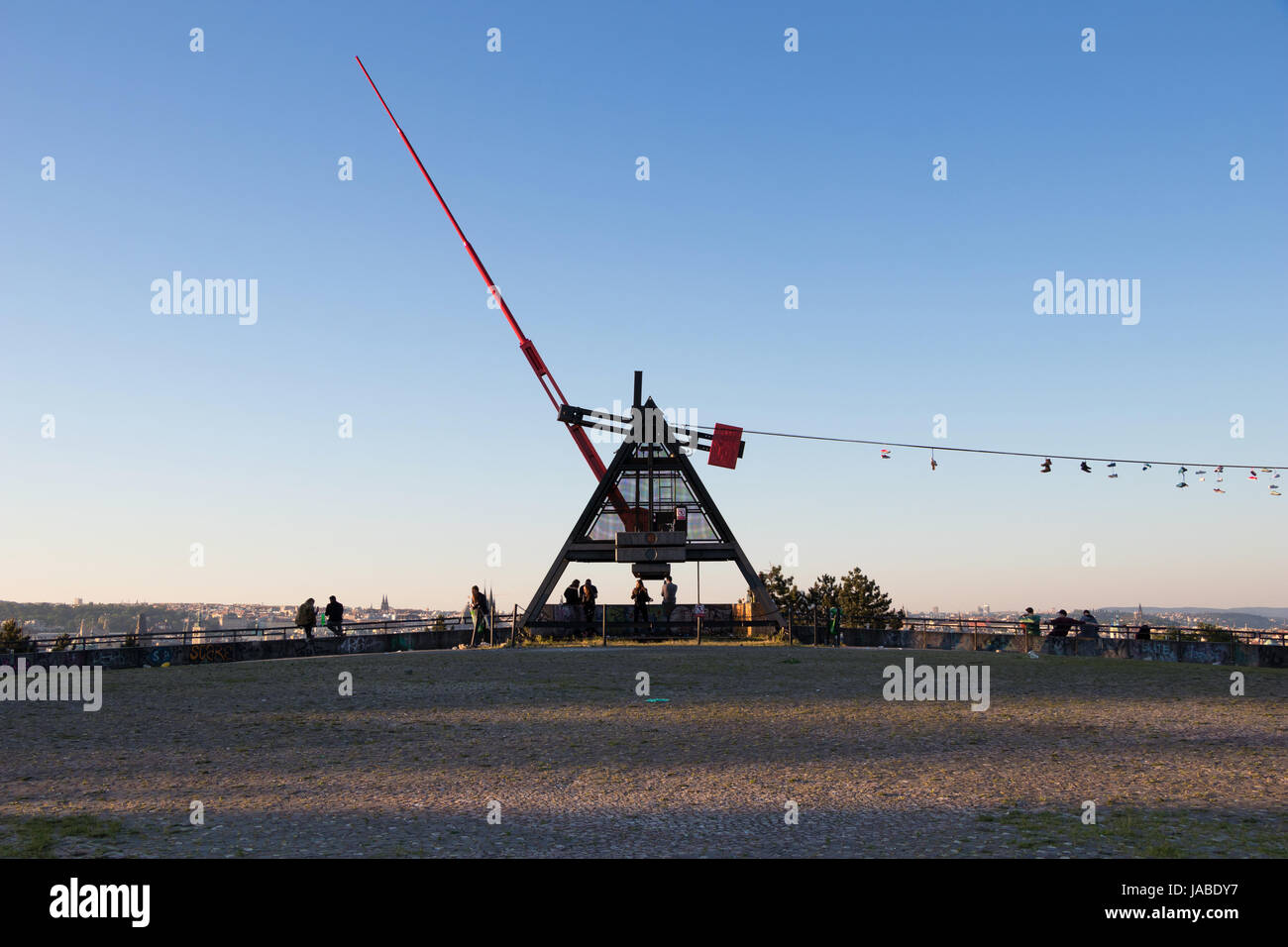 PRAGUE, CZECH REPUBLIC - MAY 28, 2017: Giant metronome in the Letna park above the city - Stock Image