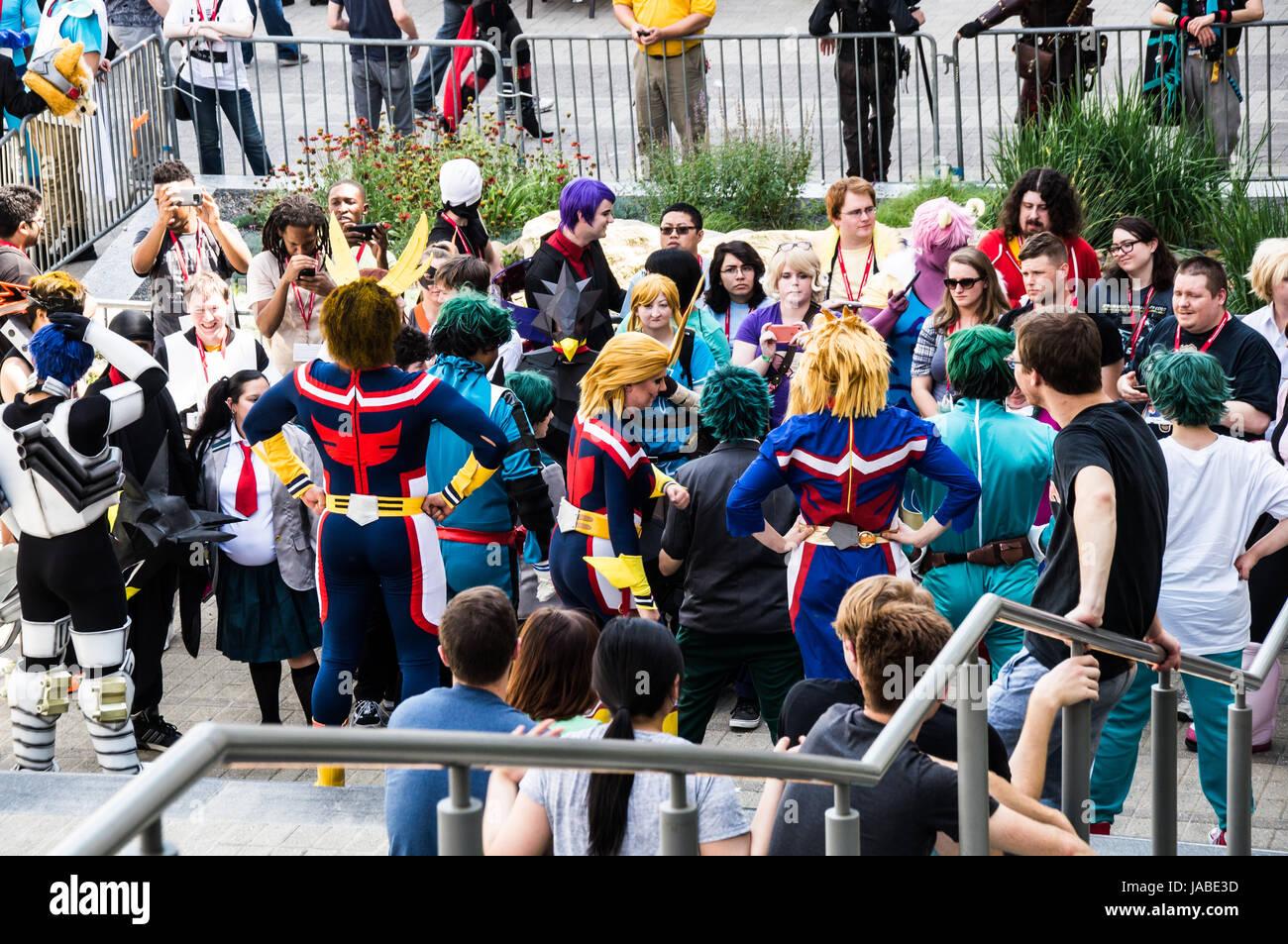 My Hero Academia cosplayers - Stock Image