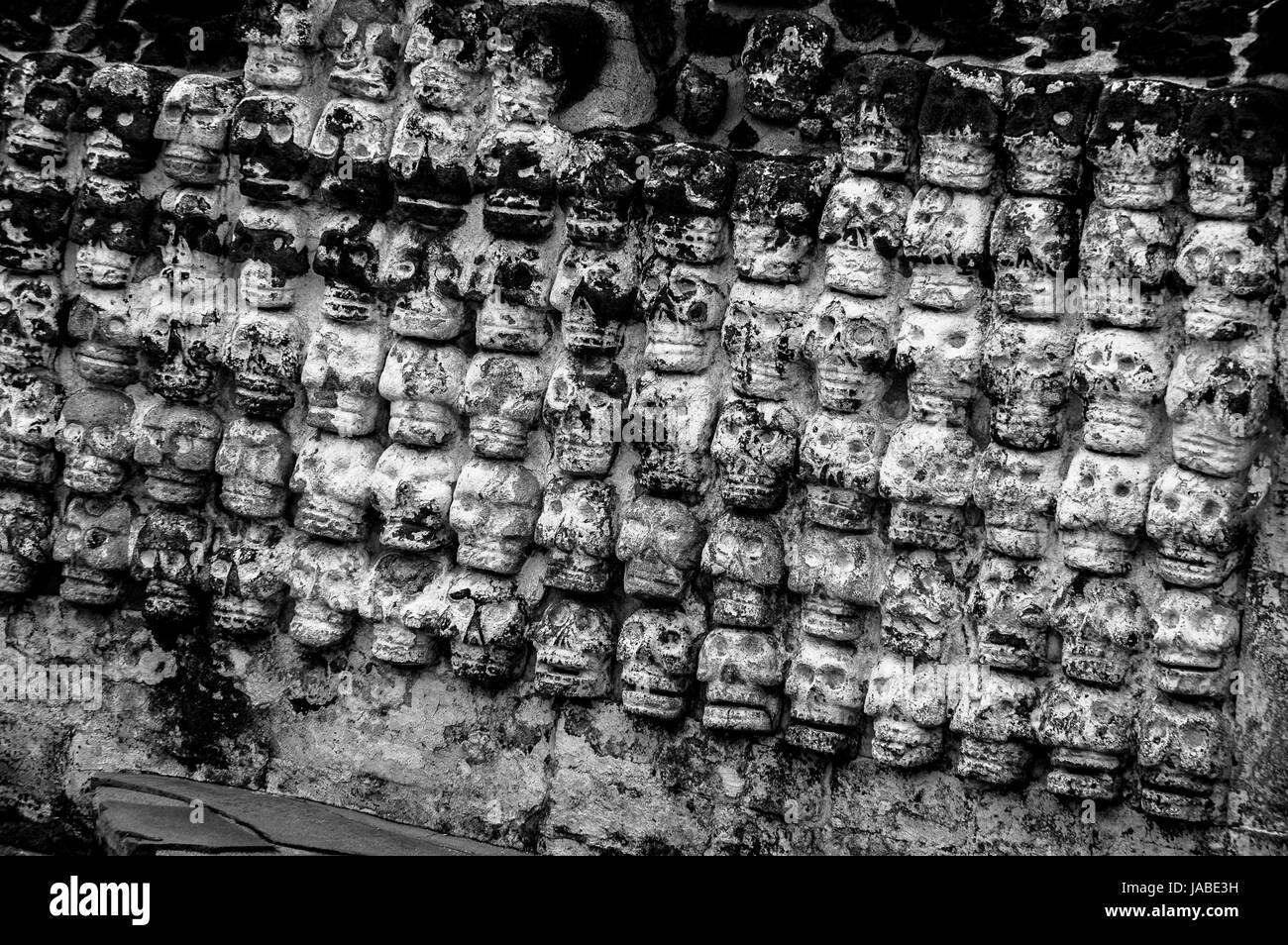 The Aztec ruins of Templo Mayor, a UNESCO World Heritage site, in Mexico City - Stock Image